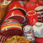 SOLD Dishes are Drying by Deirdre Tomlins