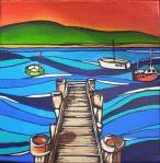 SOLD Freycinet Maree Gwynne acrylic on canvas 15x15x3.5cm