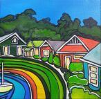 SOLD Strahan Maree Gwynne acrylic on canvas 15x15x3.5cm