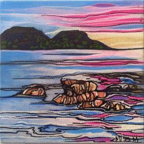 SOLD Wine Glass Bay Maree Gwynne acrylic on canvas 15x15x3.5cm $75